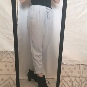 Drapey Pleated Light Blue Cuffed Pants